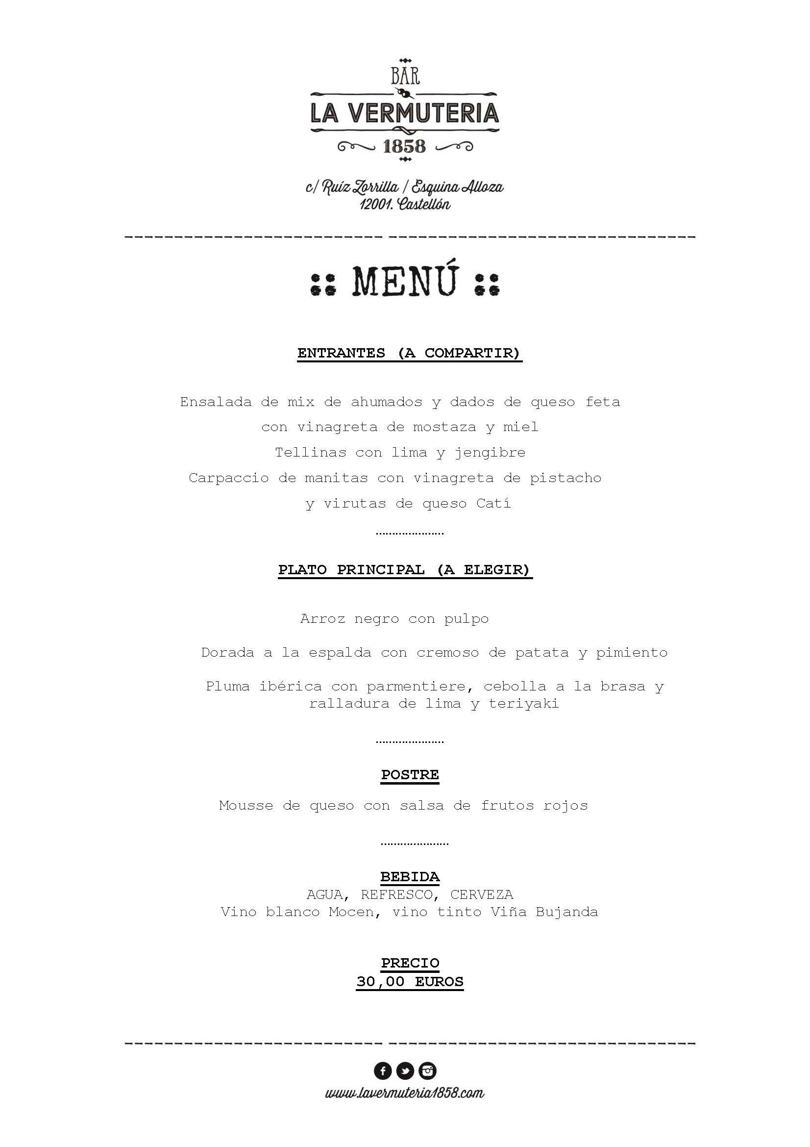 Menú 2 La Vermuteria 1858
