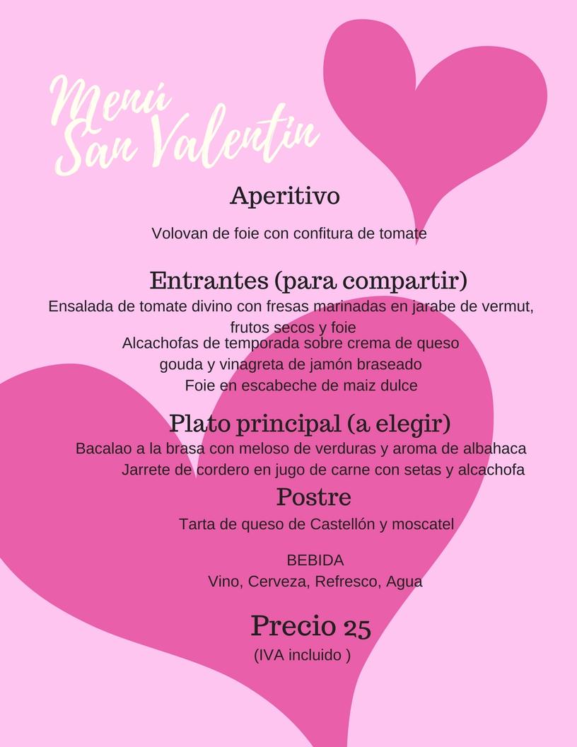 Menú San Valentín 2018 lavermuteria1858