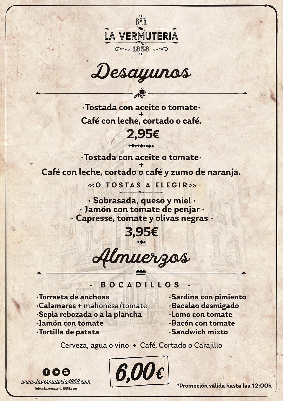 carta Almuerzos La Vermuteria 1858 2021